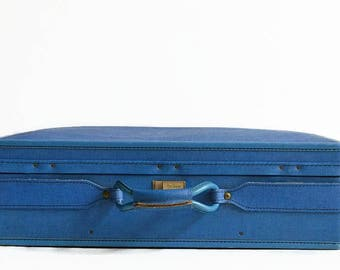 vintage Hartmann suitcase blue 1960s mid century travel luggage