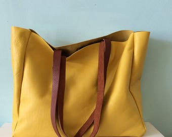 Leather tote bag, yellow leather bag, bright yellow leather holdall