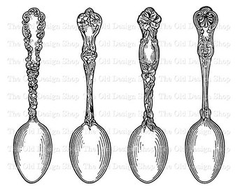 Vintage Teaspoons Printable Kitchen Clip Art Digital Download PNG JPG Image