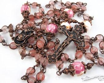 Quartz Unbreakable Rosary confirmation gift pink rosary catholic gift keepsake rosary copper catholic rosaries ladies rosary quartz rosaries