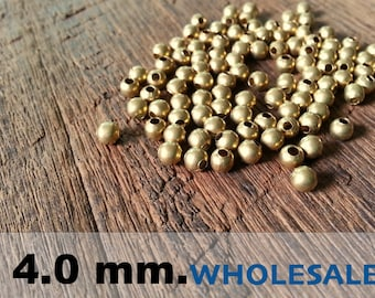 500 Pcs (4.0mm)  Brass Beads - Round beads -Brass Spacer-