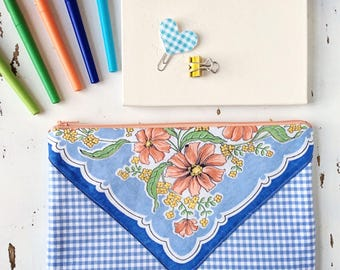 Large Zipper Pouch Pencil Pouch Planner Accessories Fabric Pouch Gift for Her Travel Bag Mothers Day Present Gift Under 30 Gingham Pouch
