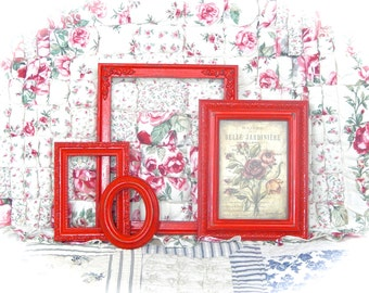 NEW COLOR Shabby Candy Apple RED Distressed Ornate Carved Gesso Picture Photo Frames Set 4 Cottage Chic