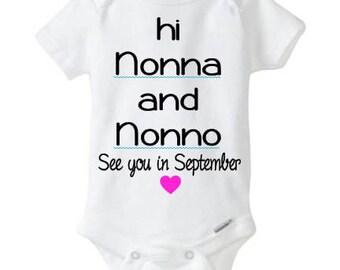 Grandparents announcement - Nonna - Nonno - Gender Reveal - Surprise - Baby onesie - Twins announcement - Vinyl NOT Paint.
