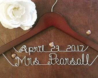 wedding hanger, personalized bridal hanger, deluxe custom hanger