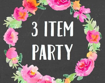 3 Item Party For Any Theme In My Shop (Includes an additional Free bonus sign)