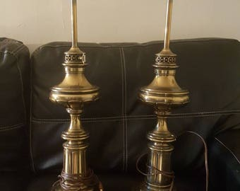Vintage tall brass table lamps