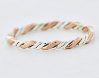 Rose Gold Twist Stackable Ring, Stacker Ring, Pink Twist Ring, Thumb Ring, Rose Gold Filled, Knuckle Ring, Midi Ring, Stacking Ring