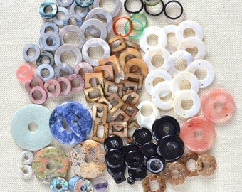 Donut Bead Mixed Lot Destash for Jewelry Making