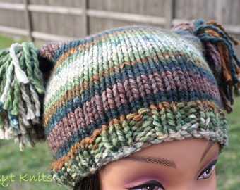 Women's Hat, Women's Square Hat, Women's Crochet Hat, Crochet Pom Pom Hat, Winter Hat, Square Jester Pom Pom Hat