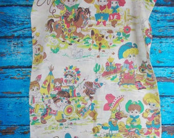 Vintage Child's Curtains, Cowboy's and Indians, Vintage Children's Fabric, Country, Western, Handmade Curtains, 1970's Fabric Curtains, RARE