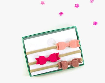 Baby Headband - Baby Headband Set - Pink Baby Bow Headbands