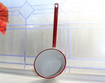 Vintage Enamelware Large Ladle Red and White Rustic Farmhouse Decor