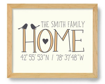Latitude Longitude Wall Art Housewarming Gift City Name Home Coordinates Gift Where I Live Welcome Gift New House Realtor Gift
