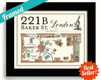 Sherlock Holmes House 221B Baker Street Framed Art Sherlock House Dr Watson London Flat Geekery Map Sherlock BBC Map of 221B London England