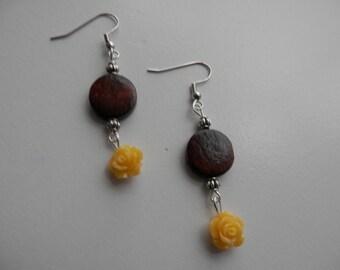 Wooden YELLOW ROSE Earrings