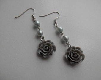 Gray ROSE with Glass PEARLS Dangle  Earrings