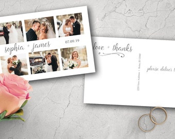 Wedding Thank You Postcard - Printed 4x6 Thank You Card - Photo Thank You - Thank You - Bride & Groom - Wedding - Thank You Postcard