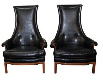 Mid Century Modern, danish, retro, vintage 1950's black leather upholstered pair of chairs by Tomlinson