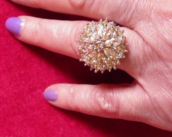 Champagne Colored Simulated Diamond Cluster Ring.  Wedding Perfect.