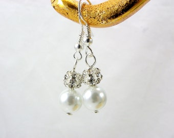 Bridesmaid Gift, Bridesmaid Earrings,Pearl and Rhinestone Earrings, Weddings, Pearl and Crystal Dangle Earrings,  Bridesmaid Jewelry