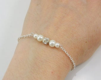 Set of 6 Pearl and Rhinestone Bracelets, 6 Bridesmaid Bracelets, 6 Bracelets, Pearl and Crystal Bracelets, Floating Pearl, Bridesmaid gift