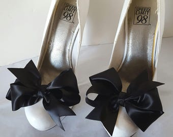 Wedding Shoe Clips, Bridal Shoe Clips, Satin Bow Shoe Clips, Black Shoe Clips, Navy Blue Bows, Shoe Clips for Wedding Shoes,