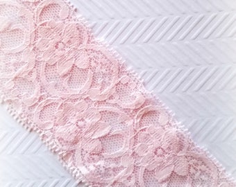"Pink Stretch Lace. Wide Stretch Lace. 2"" Width. 2 Yards. SASKIA Lace."