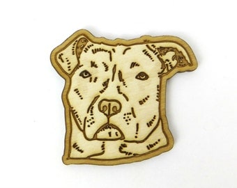 Pit bull brooch, pitbull pin, pit bull gift, dog pin, dog valentine gift, animal lover gift, birch wood, laser cut pin