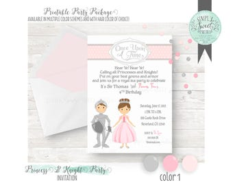Princess and Knight Invitation. Birthday Party DIY printable PDF Invitation. Silver and Pink with other color options available