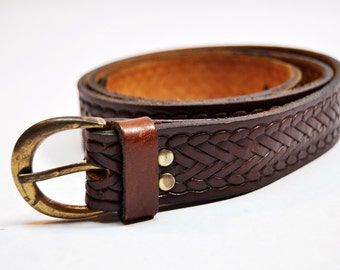 Vintage Braid Embossed Brown Sturdy Tooled Leather Belt