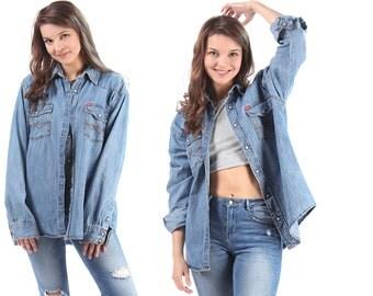 BOYFRIEND Denim Shirt 80s Blue Jean Retro Western Light Sun Wash Pearl Button Up Long Vintage Cotton Oversized Cowboy European Quality XL