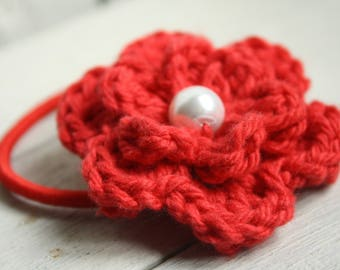 Crochet Flower Hair Elastic in Pillar Box Red with Glass Pearl Bead