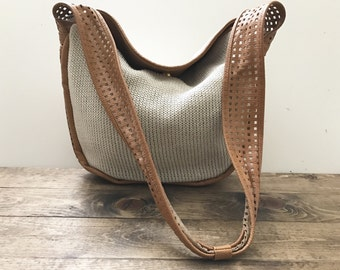 Large Vintage Leather & Knit Cotton Slouchy Crossbody Bag - Natural / Tan Perforated Crossbody Strap