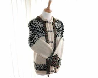 Norwegian wool cardigan, Nordstrikk cardigan small medium size