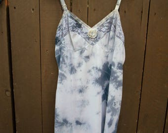 Vintage Slip/ Beach Cover Up/ Upcycled/ Lacey/ Sexy/ Fairy/ Surfer Girl/ Boudoir/ Hippie/ Boho/ French Boudoir/ Tie Dye Slip Dress