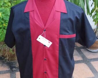 Men's Rockabilly Vintage 1950's Style Retro Bowling Shirt Black & Burgundy