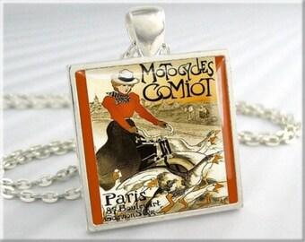 Bicycle Art Pendant, Motocycles Comiot Charm, T. A. Steinlen Vintage Art, Gift Under 20, Silver Square, Paris France Art (749SS)