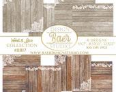 "WOOD and LACE Digital Paper, Wedding Digital Paper, Digital Paper Wood, Rustic Wedding Digital Paper, 12x12"", 8.5x11"", 5x7"" paper,  #11817"