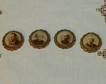 Antique Victorian  BUTTONS Pins Brooch Brooches Sepia Family Portrait gold
