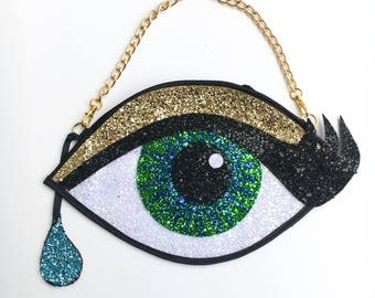 Green Glitter Eye Clutch Handbag