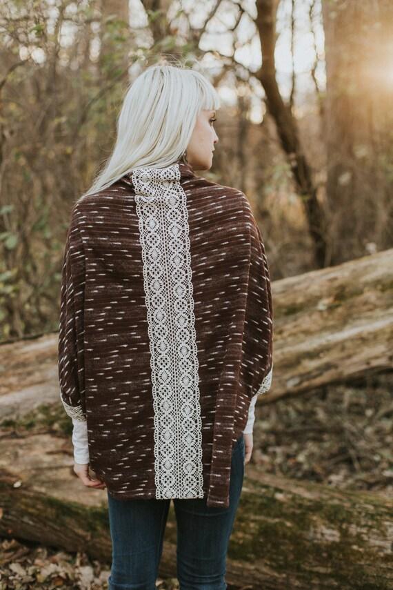 Sweater Knit Kimono with lace trim