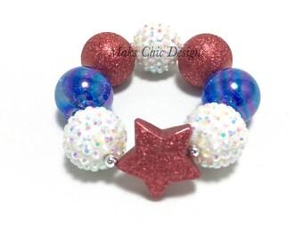 Toddler or Girls Blue, White and Red Star Chunky bracelet - Patriotic Bracelet - Fourth of July Bracelet - Vintage Star Chunky Bracelet