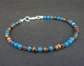 Men Golden Coral and Blue Apitate Bracelet 925 Sterling Silver, Denim Bracelet, Unisex Blue Apitate Bracelet