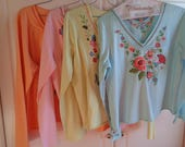 Vintage Embroidered Long Sleeve Tops in pretty pastel colors, Size XL, made of 100% Percent Soft Cotton Jersey fabric in Very Good Condition