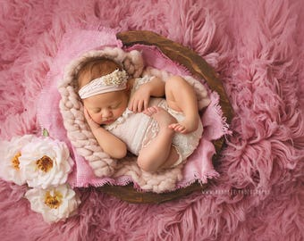 Our *LUX* 100% wool Flokati, Rosy Pink luxury wool flokati, Newborn Photography prop Greek Flokati, 3 x 5 foot prop layer