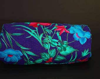 Blue Flowered Barrel Purse, fully lined