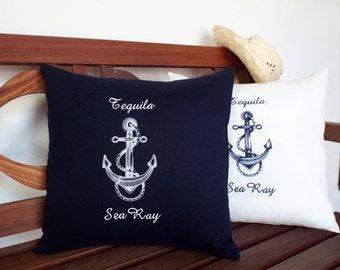 Nautical Embroidered Throw Accent nautical Pillow Cover Beach Decor Coastal Seaside decor - Anchor