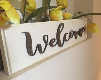 Welcome sign, stand alone sign, farmhouse style, distressed sign, white, handmade sign, rustic sign, rustic decor