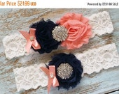 ON SALE Navy and Coral Wedding Garter, Wedding Garter Set, Bridal Garter, Lace Garter, Custom Garter, Toss Garter Included